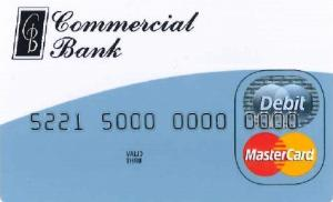 Commercial Bank mastercard debit card